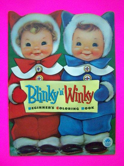 Vintage 1950s Blinky n Winky Beginners Coloring Paint Book Unused Merrill Pictures