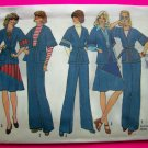 1970s Vintage Unlined Wrap Tunic Jacket Flared Skirt Pants Sewing Pattern 7271