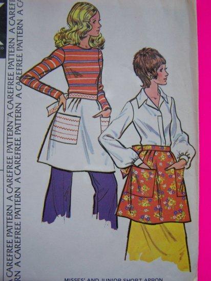 Uncut 1970s Vintage Apron Patch Pockets Sewing Pattern McCalls