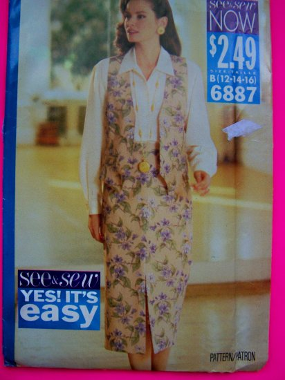 Misses Lined Vest Mid Calf Tapered Skirt 12 14 16 Sewing Pattern 6887