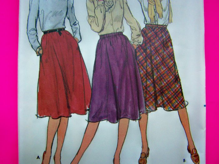 Easy Vintage Skirts Slight Flare Elastic Waist Pockets Sz 14 Sewing Pattern 3496