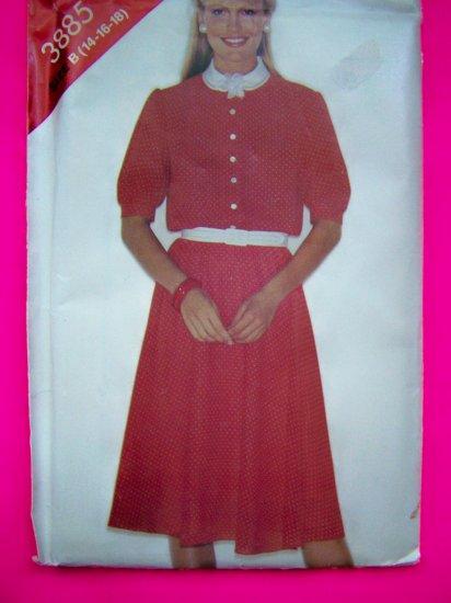 1980s Vintage Flared Loose Shirtwaist Dress 14 16 18 Sewing Pattern 3885