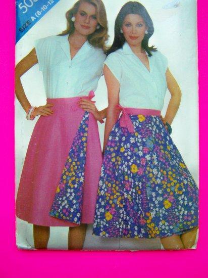 Vintage Reversible Wrap Skirt Blouse Sz 8 10 12 14 16 18 Sewing Pattern 5037