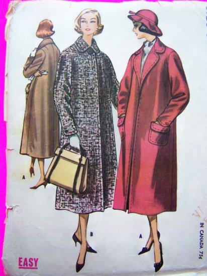 1950s Vintage Clutch Coat Jacket Easy Sewing Pattern 4262