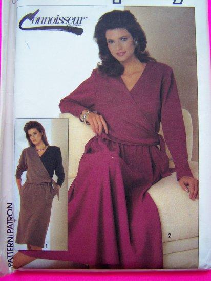 Vintage 80s Dress Sewing Pattern Slim or Half Circle Skirt Surplice Bodice 7030