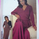 Vintage 80s Dress Sewing Pattern Slim or Half Circle Skirt Surplice Bodice 7030
