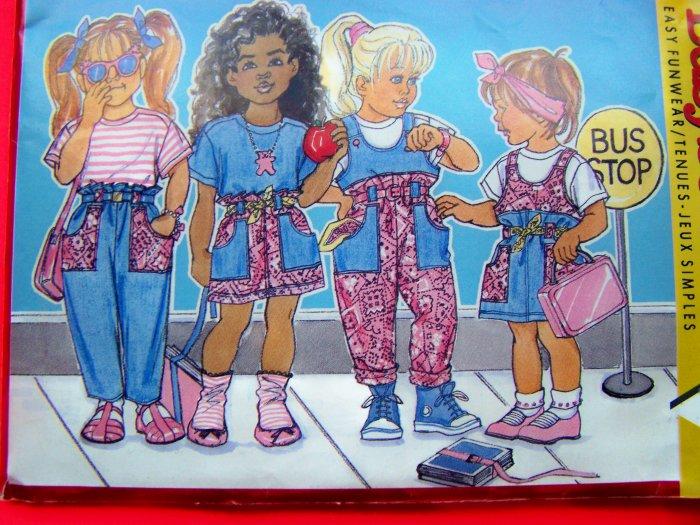 Vintage 80s Girls Jumper Dress OVeralls Skirt Pants Shirt 5 6 6x Sewing Pattern Free USA Shipping