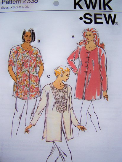 New Misses Tunic Top Shirt Sizes XS S M L XL Kwik Sew Sewing Pattern 2338