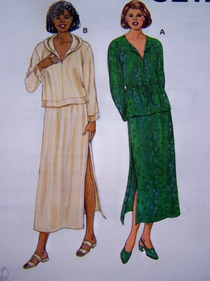 Uncut Kwik Sew Sewing Pattern 2743 Misses Pull on High Slit Skirt Pullover Tops