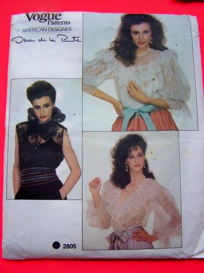 Vintage Lace Blouse Victorian Lacy Shirt Camisole Sz 12 Vogue Sewing Pattern 2805