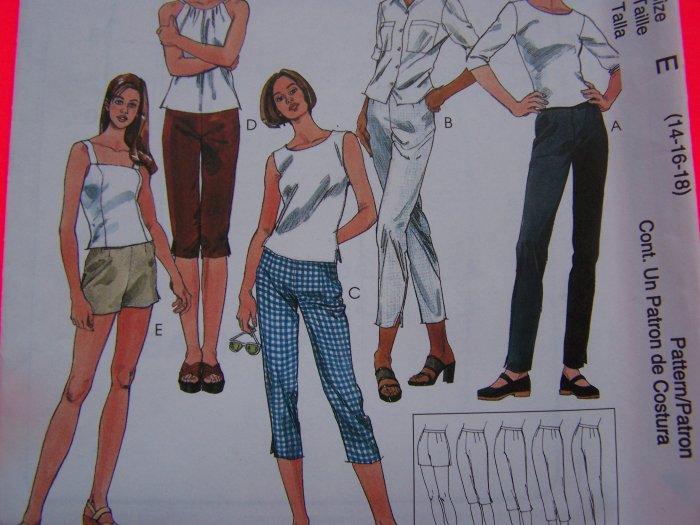 Misses 14 16 18 Pants Capri Shorts 5 Lengths Sewing Pattern 1 Penny USA Shipping