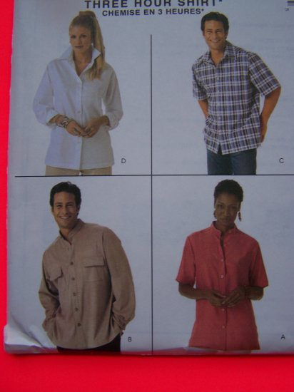 Misses or Mens Shirts Short Long Sleeve McCall's Sewing Pattern 4079