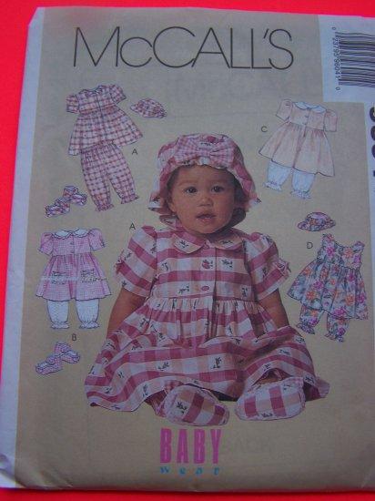 Infant Dress Pantaloons Hat Shoes Baby S M L XL McCalls Sewing Pattern 9604
