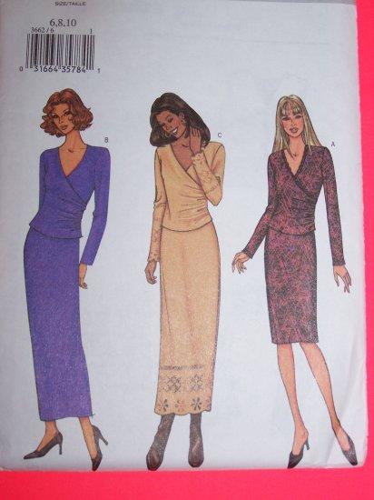 Wrap Top Slim Wiggle Skirt 2 Piece Dress 6 8 10 Sewing Pattern 3662 1 Penny USA Shipping