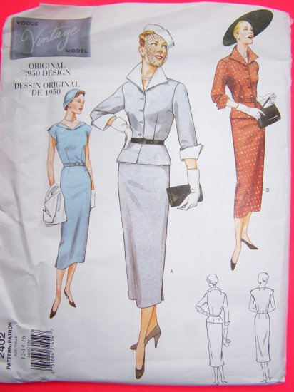 NEW 1950s Vintage Vogue 2402 Slim Dress Peplum Jacket 12 14 16 Sewing Pattern