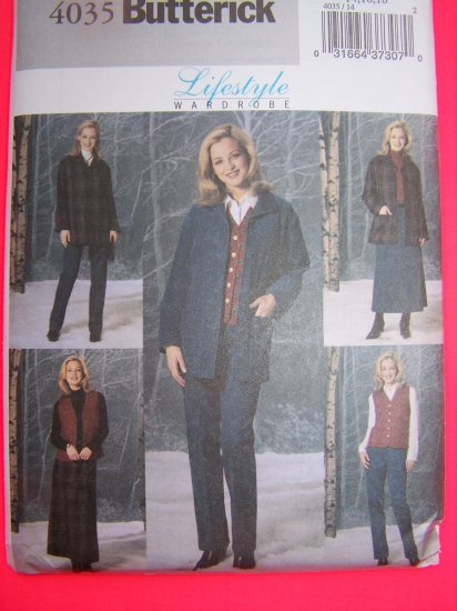Loose Jacket Quilted Vest A Line Skirt Tapered Pants 14 16 18 Sewing Pattern 4035