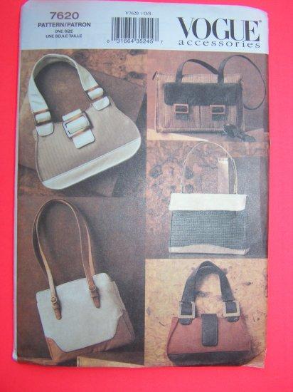 Vogue Sewing Pattern 7620 Accessories Purse Hangbag Tote bag SHoulder Purses