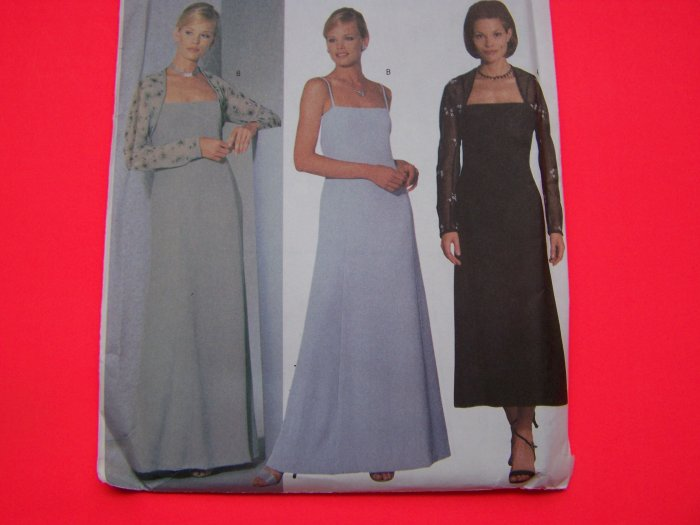 Evening Gown A Line Dress Princess Seams Shrug Plus Size 18 20 22 Sewing Pattern 6400 1 Penny S&H