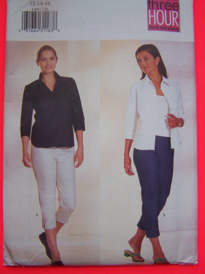 Collar Shirt 3/4 Sleeves Stretch Tapered Capri Pants Fast and Easy Sewing Pattern 6469