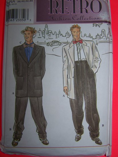 1930s Mens Retro Suit Jacket Pants Bow Tie 38 40 42 44 Simplicity Sewing Pattern 8879