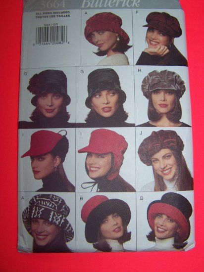 1990s Hat DIY 10 Hats S M L Butterick Sewing Pattern 3664