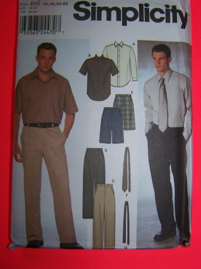 Men's Shirt Dress Pants Shorts Ties 46 48 50 52 Simplicity Sewing Pattern 9469