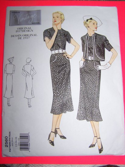 Original Vintage Design Retro 1930s Flapper Dress Bolero 12 14 16 Vogue Sewing Pattern 2560