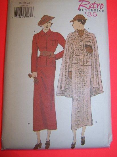 1930s Vintage Suit Jacket Cape Straight Skirt Plus Size 18 20 22 Retro Sewing Pattern 6329