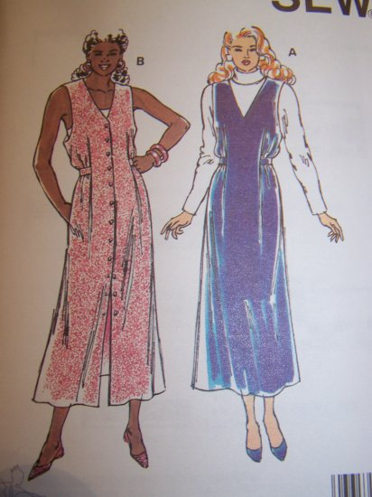 Flared V Neck Jumper Dress Pullover or Button Front XS S M L XL Sewing Pattern 2294