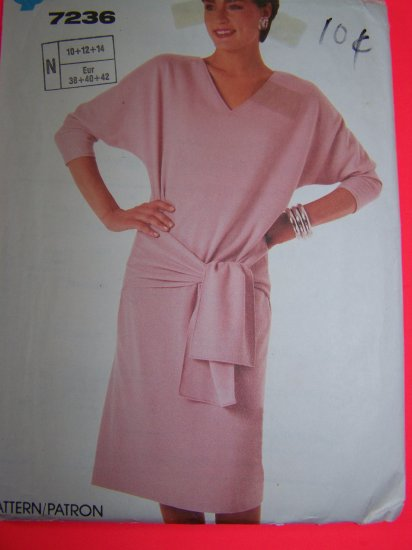 Vintage Sewing Pattern 7236 Pullover Dress Kimono Sleeves V neck 10 12 14 Penny Shipping