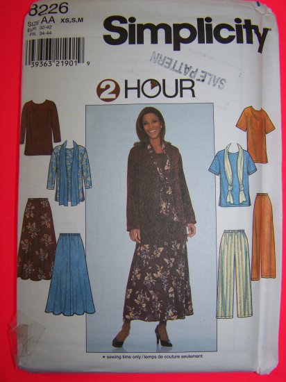 Misses XS S M 2 Hour Top Skirt Pants Scarf Sewing Pattern 8226 Penny Shipping USA