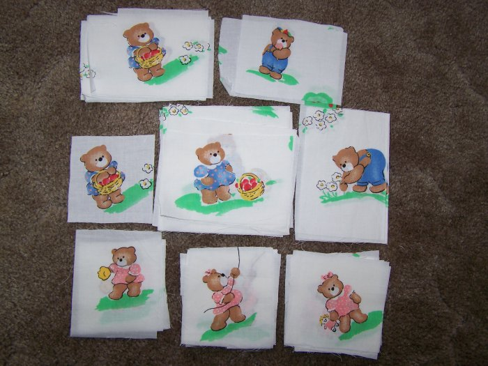60 Teddy Bear Doll Cotton Fabric Quilting Quilt Blocks Squares Out of Print