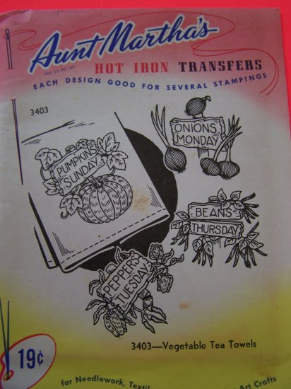 Vintage Aunt Martha's Hot Iron Transfers Patterns 3403 Vegetable Tea Towels Penny Shipping