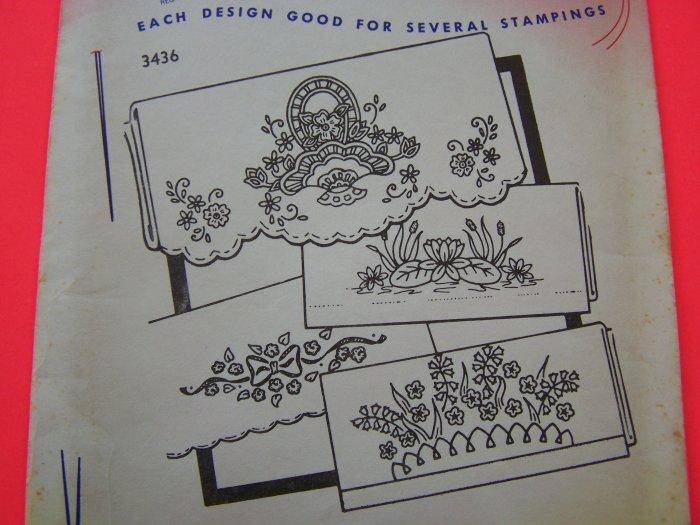 Aunt Marthas Hot Iron Transfer Pattern 3436 Flowers Basket Lilypad Borders Penny Shipping