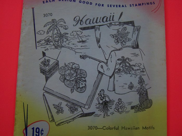 Vintage Aunt Martha's Transfer Pattern 3070 Hawaiian Motifs Hawaii Shirt 1 Penny Shipping