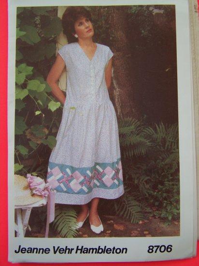 Vintage 1980s Pinwheel Sundress Jumper Dress 6 8 10 12 14 16 Sewing Pattern 8706