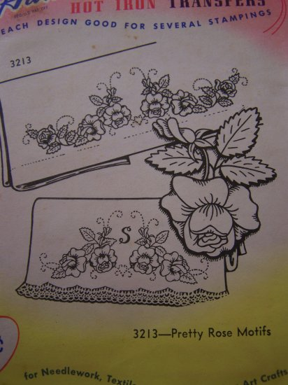 Aunt Marthas Transfer Pattern Rose Roses Needlework Applique Painting Embroidery Patterns