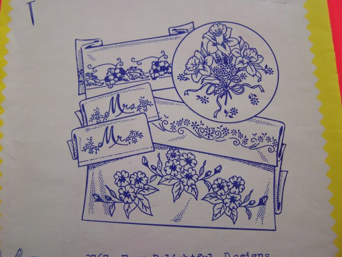 Aunt Marthas Transfers Iron On Patterns 3767 Four Delightful Designs Floral Mr Mrs Pillowcases