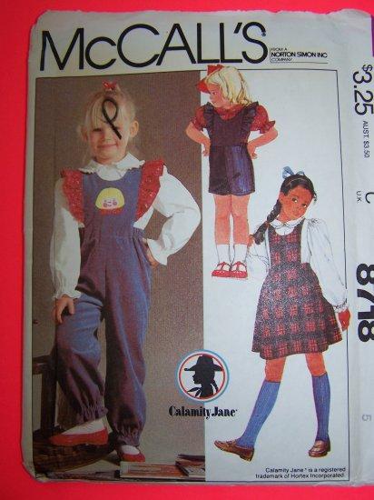 Girls 5 Vintage Sewing Pattern Ruffle Bib Jumper Dress Overall Pants Shorts Blouse 8718