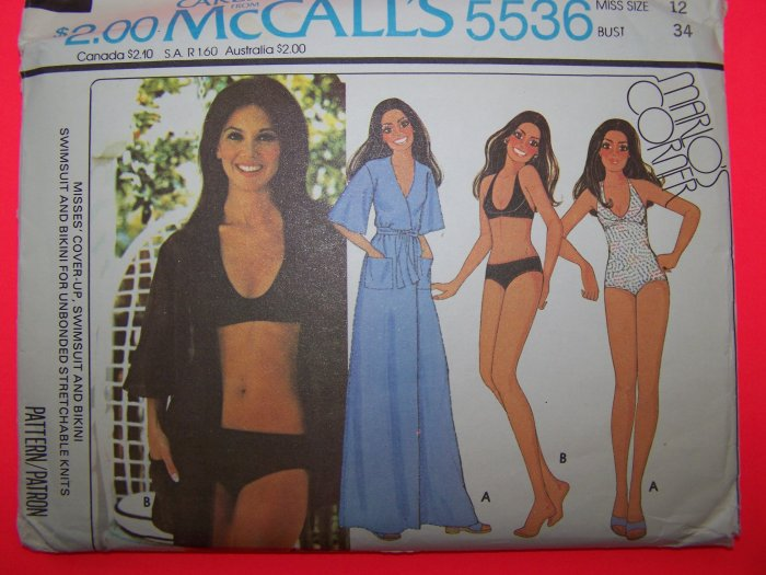 Vintage Sewing Pattern Sz 12 Wrap Cover up Swimsuit Halter Bikini 5536 Penny Shipping USA