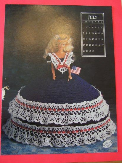 July Annie's Attic Crochet Barbie Bed Doll Dress Pattern