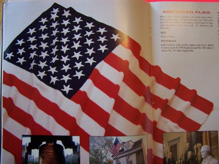 Herrschners Crochet Pattern Magazine 1991 American Flag Afghan PotHolders $1 S&H USA