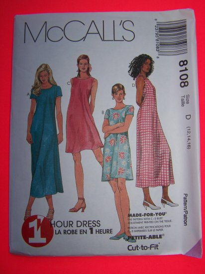 McCalls 8108 Sewing Pattern Sundress 1 Hour Dress 12 14 16 USA $1 Shipping
