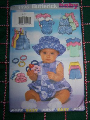 L XL Infants Romper Overalls T Shirt Shorts Hat Headband Sewing Pattern $1 USA S&H