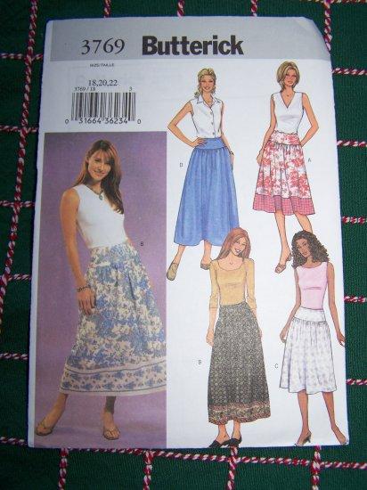 Plus Size 18 20 22 Easy Skirt Sewing Pattern Yoke Waistband 3769 1 Penny USA Shipping