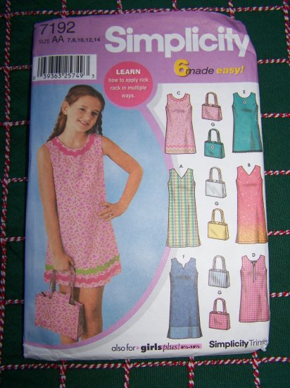 Girls Summer Dress & Purse 7 8 10 12 14 Sewing Pattern 7192 USA 1 Dollar Shipping
