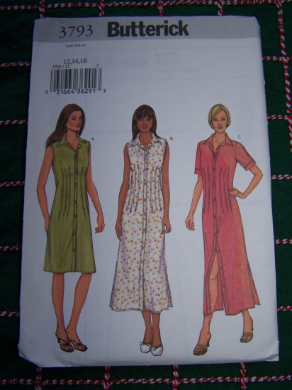 Misses 12 14 16 Loose Dress Front Back Tucks Sewing Pattern 3793 USA $1 Shipping