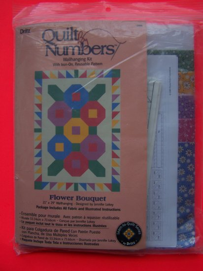 New Dritz Learn to Quilt by Numbers Wallhanging Kit Flower Bouquet 3904 Quilting Fabric Included