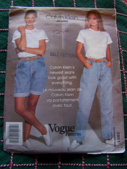 New Vintage Calvin Klein Denim High Waist Jeans Shorts Sewing Pattern 2851 Sz Large