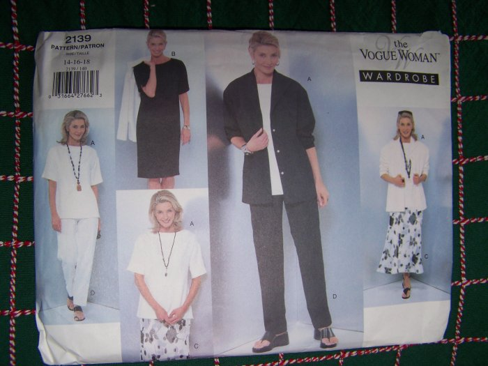 Vogue Woman Wardrobe Sewing Pattern 2139 Sz 14 16 18